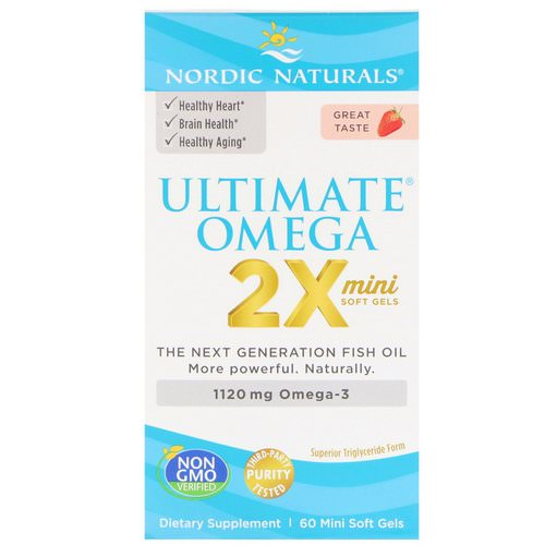 Nordic Naturals, Ultimate Omega 2X, Strawberry, 1120 mg, 60 Mini Soft Gels Review