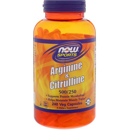 Now Foods, Arginine & Citrulline, 500/250 mg, 240 Veg Capsules Review