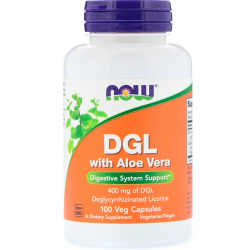 Now Foods, DGL with Aloe Vera, 400 mg, 100 Veg Capsules Review
