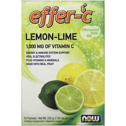 Now Foods, Effer-C, Effervescent Drink Mix, Lemon-Lime, 30 Packets, (7.5 g) Each Review