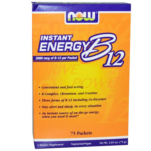 Now Foods, Instant Energy B-12, 2000 mcg, 75 Packets, (1 g) Each Review