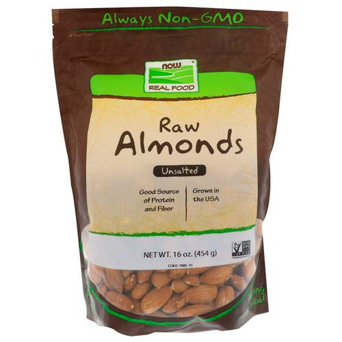 Now Foods, Real Food, Raw Almonds, Unsalted, 16 oz (454 g) Review
