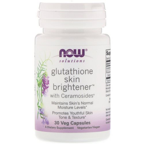 Now Foods, Solutions, Glutathione Skin Brightener, 30 Veg Capsules Review