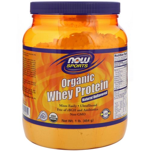 Now Foods, Sports, Organic Whey Protein, Natural Unflavored, 1 lb (454 g) Review