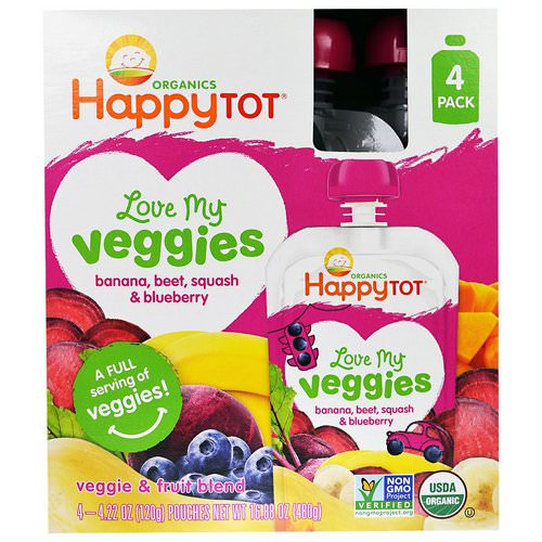 Happy Family Organics, HappyTot, Love My Veggies, Banana, Beet, Squash & Blueberry, 4 Pouches, 4.22 oz (120 g) Each Review