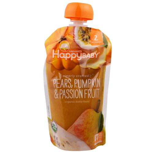 Happy Family Organics, Organic Baby Food, Stage 2, Clearly Crafted, 6+ Months, Pears, Pumpkin, & Passion Fruit, 4.0 oz (113 g) Review