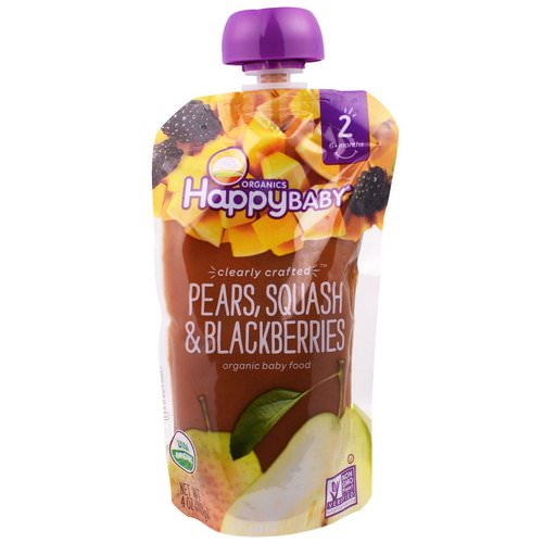Happy Family Organics, Organic Baby Food, Stage 2, Clearly Crafted 6+ Months, Pears, Squash & Blackberries, 4.0 oz (113 g) Review