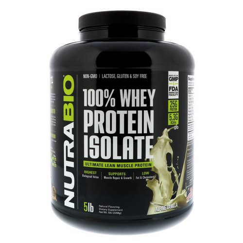 NutraBio Labs, 100% Whey Protein Isolate, Alpine Vanilla, 5 lbs (2268 g) Review