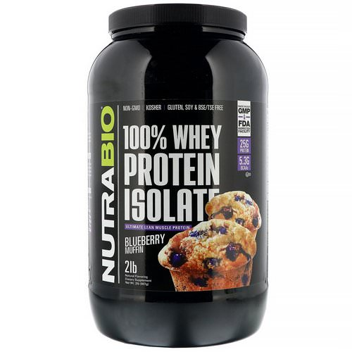 NutraBio Labs, 100% Whey Protein Isolate, Blueberry Muffin, 2 lb (907 g) Review