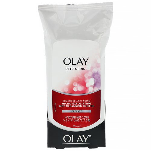 Olay, Regenerist, Advanced Anti-Aging, Micro-Exfoliating Wet Cleansing Cloths, 30 Textured Wet Cloths Review