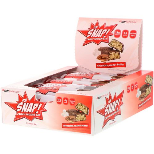 OOH Snap! Crispy Protein Bar, Chocolate Peanut Butter, 7 Protein Bars, 1.62 oz (46 g) Each Review