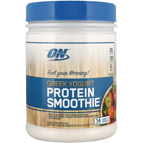 Optimum Nutrition, Greek Yogurt, Protein Smoothie, Strawberry, 1.02 lb (462 g) Review