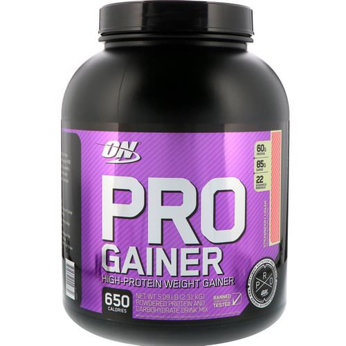 Optimum Nutrition, Pro Gainer, High-Protein Weight Gainer, Strawberry Cream, 5.09 lbs (2.31 kg) Review