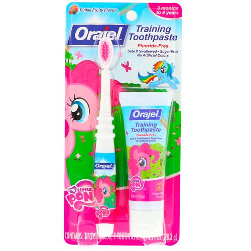 Orajel, My Little Pony Training Toothpaste with Toothbrush, Flouride Free, Pinkie Fruity Flavor, 3 Months to 4 Years, 1 oz (28.3 g) Review