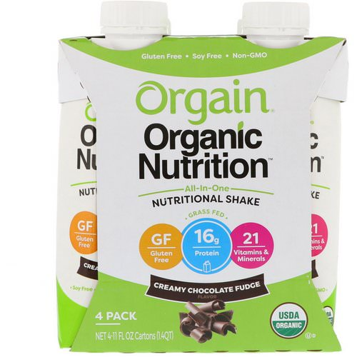 Orgain, Organic Nutrition, All In One Nutritional Shake, Creamy Chocolate Fudge, 4 Pack, 11 fl oz Each Review