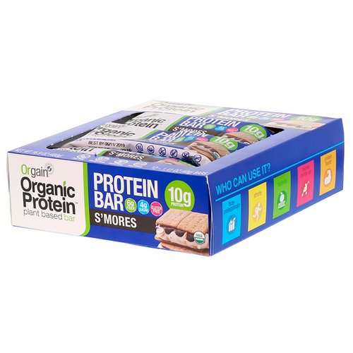 Orgain, Organic Plant-Based Protein Bar, S'mores, 12 Bars, 1.41 oz (40 g) Each Review