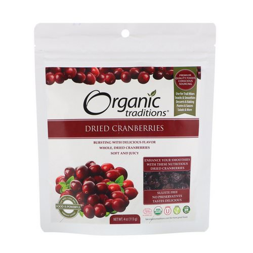 Organic Traditions, Dried Cranberries, 4 oz (113 g) Review