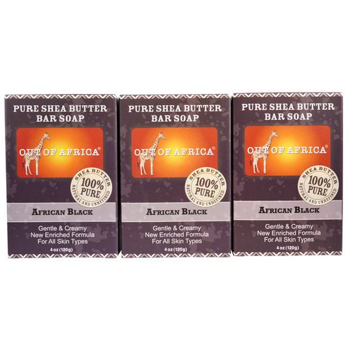 Out of Africa, Pure Shea Butter Bar Soap, African Black, 3 Bars, 4 oz (120 g) Each Review