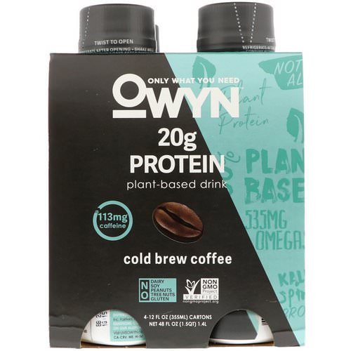 OWYN, Protein Plant-Based Shake, Cold Brew Coffee, 4 Shakes, 12 fl oz (355 ml) Each Review