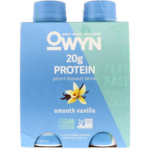 OWYN, Protein Plant-Based Shake, Smooth Vanilla, 4 Shakes, 12 fl oz (355 ml) Each Review