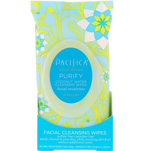 Pacifica, Purify Facial Cleansing Wipes, All Skin Types, 30 Pre-Moistened Natural Towelettes Review