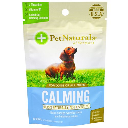 Pet Naturals of Vermont, Calming, For Dogs, 30 Chews, 1.59 oz (45 g) Review