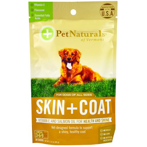 Pet Naturals of Vermont, Skin + Coat, For Dogs, 30 Chews, 2.12 oz (60g) Review