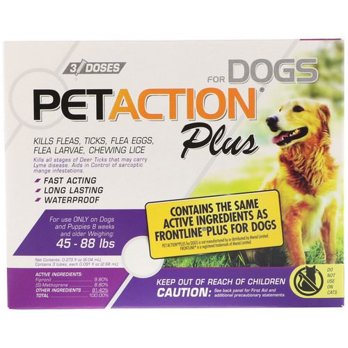 PetAction Plus, For Dogs, 45-88 lbs, 3 Doses - 0.091 fl oz (2.68 ml) Each Review