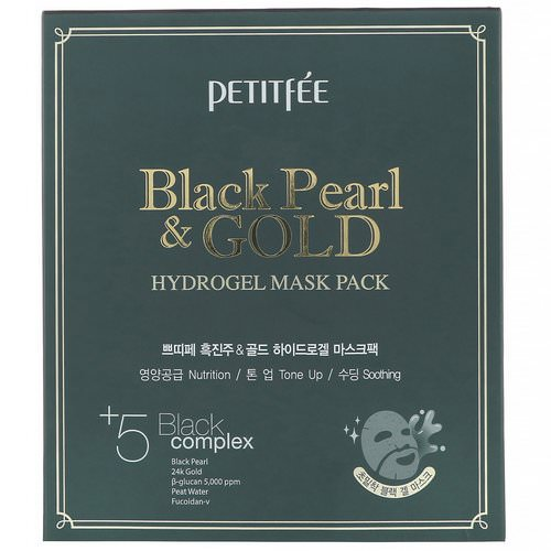 Petitfee, Black Pearl & Gold Hydrogel Mask Pack, 5 Sheets, 32 g Each Review
