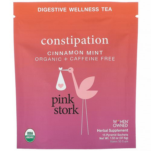 Pink Stork, Constipation, Digestive Wellness Tea, Cinnamon Mint, Caffeine Free, 15 Pyramid Sachets, 1.32 oz (37.5 g) Review