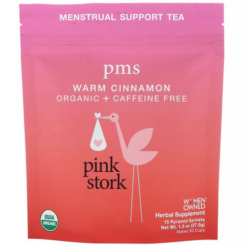 Pink Stork, PMS, Menstrual Support Tea, Warm Cinnamon, Caffeine Free, 15 Pyramid Sachets, 1.3 oz (37.5 g) Review