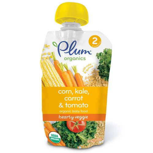 Plum Organics, Organic Baby Food, Stage 2, Hearty Veggie, Corn, Kale, Carrot & Tomato, 3.5 oz (99 g) Review