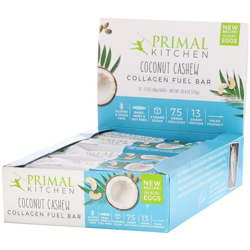Primal Kitchen, Collagen Fuel Bar, Coconut Cashew, 12 Bars, 1.7 oz (48 g) Each Review