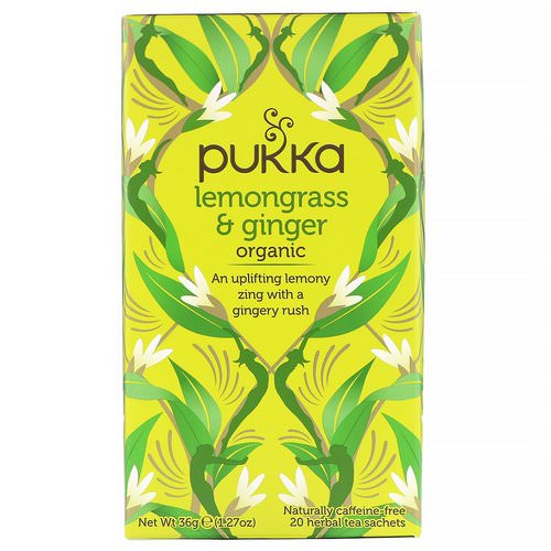 Pukka Herbs, Organic Lemongrass & Ginger, Caffeine-Free, 20 Herbal Tea Sachets, 1.27 oz (36 g) Review