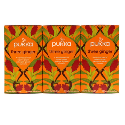 Pukka Herbs, Three Ginger Herbal Tea, Caffeine-Free, 3 Pack, 20 Herbal Tea Sachets Each Review