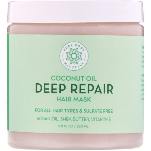 Pure Body Naturals, Coconut Oil, Deep Repair Hair Mask, 8.8 fl oz (260 ml) Review