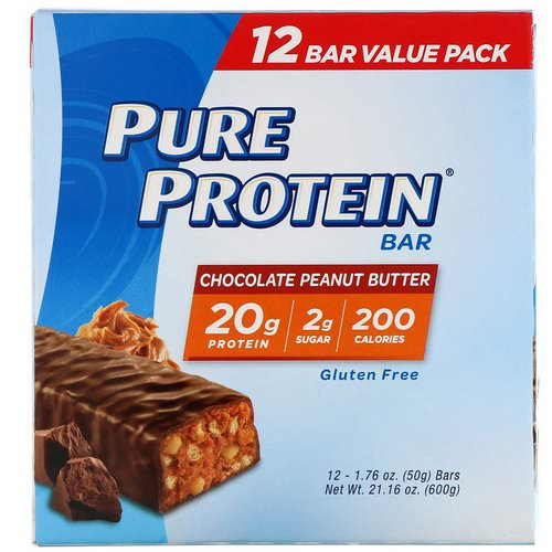 Pure Protein, Chocolate Peanut Butter Bar, 12 Bars, 1.76 oz (50 g) Each Review
