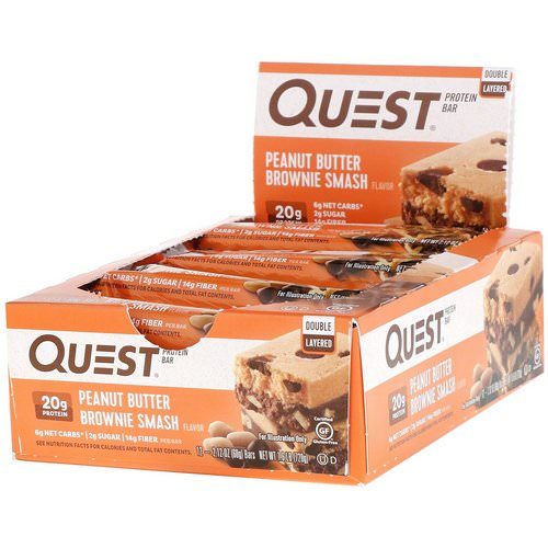 Quest Nutrition, Double Layered Protein Bar, Peanut Butter Brownie Smash, 12 Bars, 2.12 oz (60 g ) Each Review