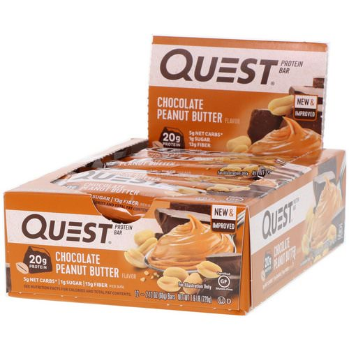 Quest Nutrition, Protein Bar, Chocolate Peanut Butter, 12 Bars, 2.12 oz (60 g) Each Review