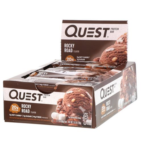 Quest Nutrition, Protein Bar, Rocky Road, 12 Bars, 2.12 oz (60 g) Each Review