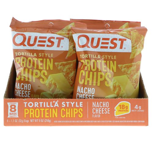 Quest Nutrition, Tortilla Style Protein Chips, Nacho Cheese, 8 Bags, 1.1 oz (32 g ) Each Review