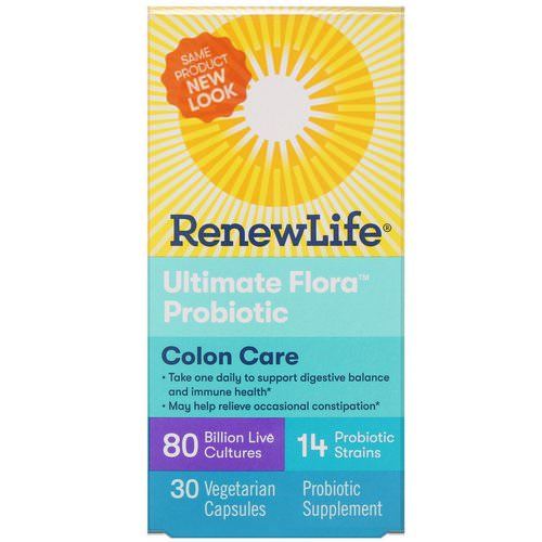 Renew Life, Colon Care, Ultimate Flora Probiotic, 80 Billion Live Cultures, 30 Vegetarian Capsules Review