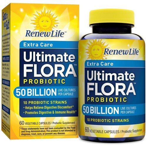 Renew Life, Extra Care, Ultimate Flora Priobiotic, 50 Billion Live Cultures, 60 Vegetable Capsules Review