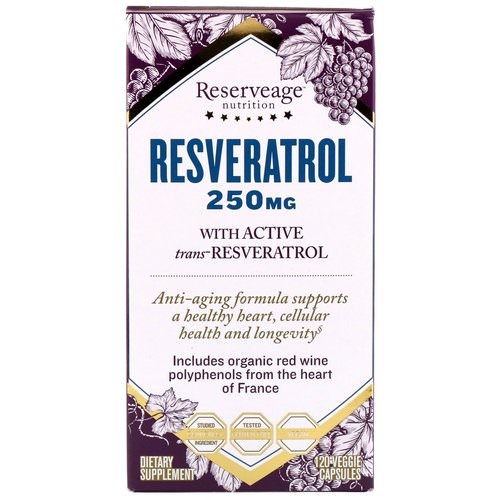 ReserveAge Nutrition, Resveratrol, With Active Trans-Resveratrol, 250 mg, 120 Veggie Capsules Review