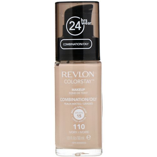 Revlon, Colorstay, Makeup, Combination/Oily, 110 Ivory, 1 fl oz (30 ml) Review