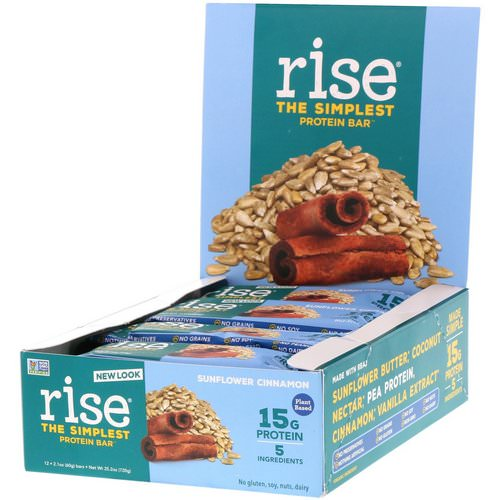 Rise Bar, The Simplest Protein Bar, Sunflower Cinnamon, 12 Bars, 2.1 oz (60 g) Each Review