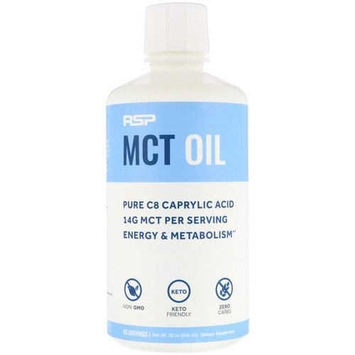 RSP Nutrition, C8 Caprylic Acid MCT Oil, Energy & Metabolism, Unflavored, 32 oz (945 ml) Review