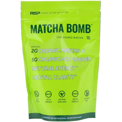 RSP Nutrition, Matcha Bomb, Unflavored Matcha, 4.9 oz (140 g) Review