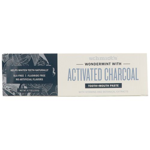 Schmidt's Naturals, Tooth + Mouth Paste, Wondermint with Activated Charcoal, 4.7 oz (133 g) Review