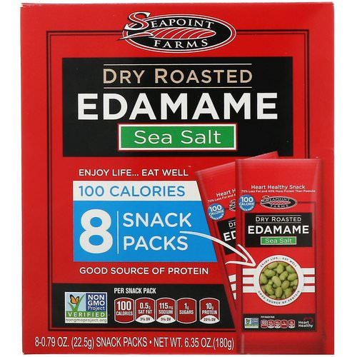 Seapoint Farms, Dry Roasted Edamame, Sea Salt, 8 Snack Packs, 0.79 oz (22.5 g) Each Review